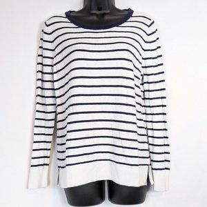 Old Navy Classic Crew Blue/White Striped Sweater